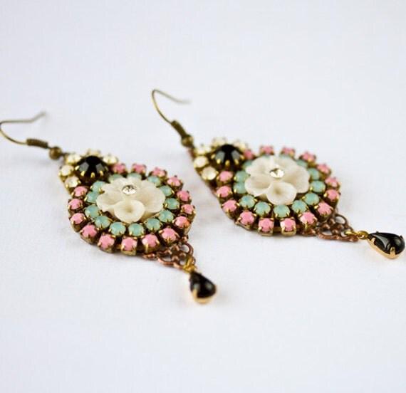 Swarovski Rhinestones Earrings - Colorful Unique Glass Dangle Earrings, Pink, Aqua Blue, Gold Elegant Boho Chic Earrings, Gipsy Style