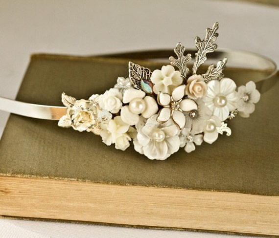 Bridal Headband - Bridal Hair Accessories, Vintage Headband, Shabby Chic Wedding Accessories, Silver Head piece Unique pearl, Something Old