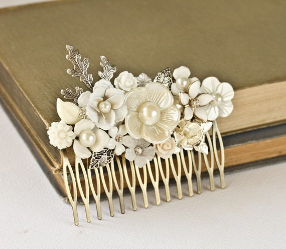Silver Bridal Hair Comb - Vintage Shabby Chic Hair Comb, Wedding Bridal Hair Accessories, Floral Hair Piece, Something Old