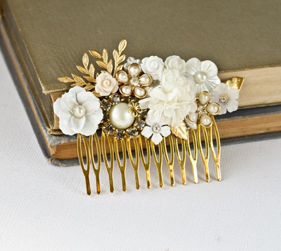 Bridal Hair Comb - Wedding Hair Accessories, Gold White Flower Hair Piece Vintage Bridal Hair Accessories, Something Old, Spring Shabby Chic