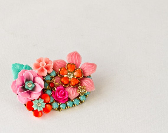 Neon Flowers Brooch - Boho Chic Bright Pink Fuchsia Brooch, Vintage Gipsy Style Hot Pink, Orange and Turquoise Blue Rhinestone Jewelry