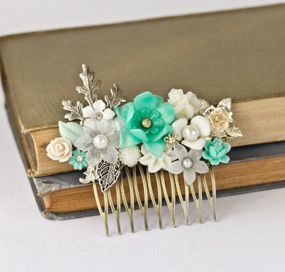 Wedding Hair Comb - Bridal Hair Accessories, Something Blue, Something Old, Vintage Shabby Chic Hair Piece, Spring Wedding Hair Accessories