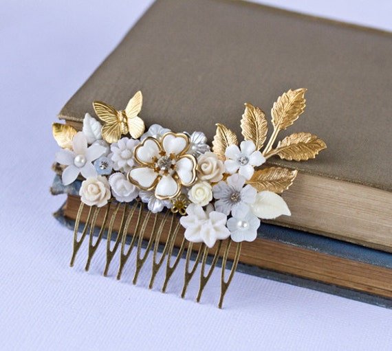 Bridal Hair Piece - Wedding Hair Accessories, Bridal Hair Comb, Spring Summer Wedding Hair Comb, Vintage White Something Old