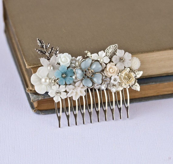 Bridal Hair Comb - Wedding Hair Accessories, Vintage Something Blue, Shabby Chic Wedding Hair Comb, Silver Hair Comb Something Old