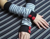 SALE Cat and Black Cat, Cute armwarmers with Polka Dot Buttons and Cotton Trim, Armstulpen, Black and Grey, Funky Gloves with Stripes
