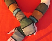 LAST PAIR Long Fingerless Gloves Upcycled Look, Segmented Armwarmers, Brown Green Mix, Mittens, Dark Brown Fox Brown Green Shades Armstulpen