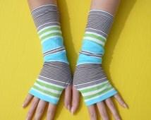 Striped Summer Gloves, Thin Jersey Armwarmers in Blue Green White Brown Mix, Beach, Hippie