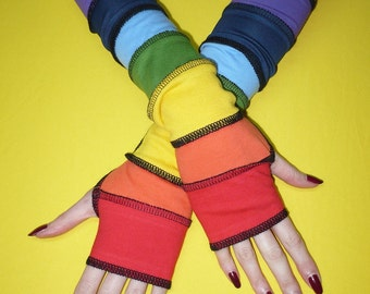 Sunny Rainbow Armwarmers in Upcycled Look, Fingerless Multicolor Gloves, Red, Orange, Green, Yellow, Blue, Purple, Long Jersey Mittens