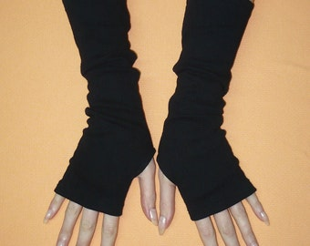 Classic Jersey Armwarmers in Black, Fingerless Gloves, Dance, Streetwear, Women Sleeves with Thumb Holes, Funky, Spring