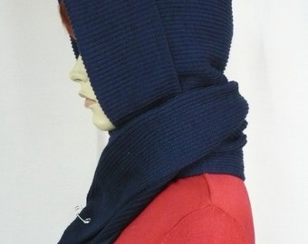 Beautiful Hood and Scarf Combo in Navy Blue, Knit Cap and Shawl for Fall and Winter, Hooded Scarf, Warm and Comfortable