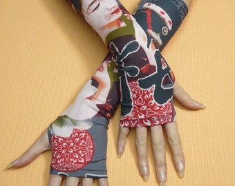 Fingerless Geisha Gloves, Jersey Armwarmers wit Orient Motive, Red and Grey, Boho, Hippie Sleeves