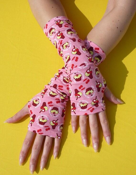 Sale Cupcake Armwarmers in Pink, Sweet Fingerless Gloves, Kawaii, Lolita , Candy, Jersey Mittens