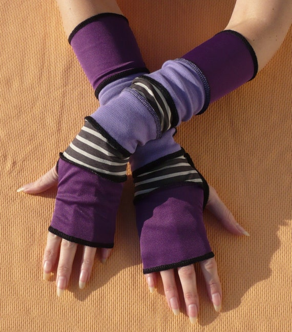 Long Purple and Grey Segmented Gloves, Traveler Armwarmers in Upcycled Look, Fingerless, Striped, Trashy Jersey Sleeves, Recycled