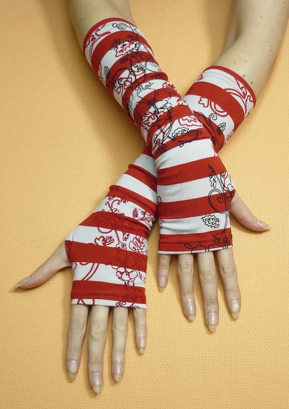 Striped Armwarmers in Red Grey and Black, Fingerless Gloves, Rockabilly Ladie's Sleeves, Printed, Jersey