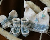 Fee shipping. Hand knitted made very cute white and blue set - hat, mittens and booties. All warm, soft and cosy. For 3 to 6 months old baby.