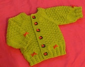 Free shipping. Lovely baby boy thin soft green cardigan sweater  with red choochoo train buttons. For baby 0 months or newborn.