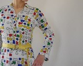 1960's primary colors full length long sleeve dress