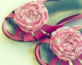 """fabric flowers tutorial """"Famous Rolled Rosettes"""" Shoe Clips Pattern Pdf  - Christmas accessories - 4 sizes DIY how to make flowers"""