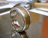 Sterling Silver and Nugold Wide Band Ring