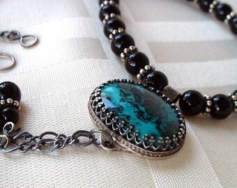 Shattuckite, Black Onyx, Sterling Silver pendant necklace