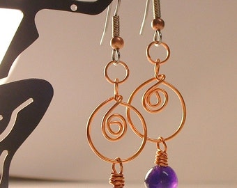 Amethyst and Copper Wire Wrapped Earring