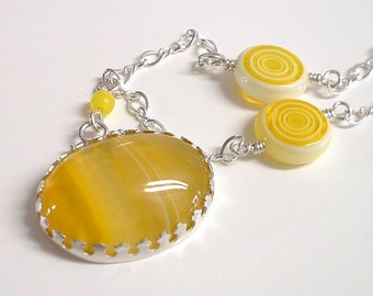 Yellow Agate and Sterling Silver Necklace Dyed Agate Yellow Cabochon Sterling Silver Chain