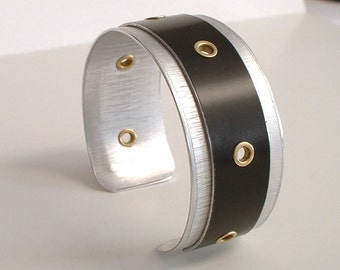 Silver and Black Anodized Aluminum Cuff Bracelet