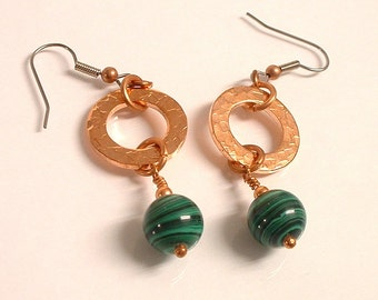 Green Malachite and Copper Washer Dangle Earring