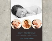 "birth announcement baby boy girl photo card -  ""Baby Vignette"""