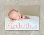 "baby girl birth announcement photo card - ""Pretty Perfect"""