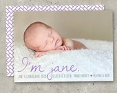 """birth announcement baby boy or girl - """"Sweet Introductions"""""""