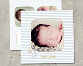 "Custom Printed Cards: ""Daises""  (modern photo baby birth announcement)"