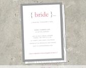 "bridal shower invitation - ""Define: Bride"""