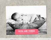 """baby girl birth announcement - """"Notched"""""""