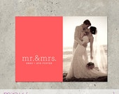 "wedding thank you photo card announcement - ""Mr & Mrs"""