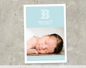 "birth announcement, baby boy, girl, photo card -  ""Monogram"""