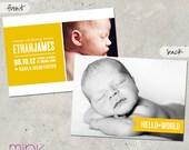 """birth announcement, bold, unique, personalize, baby boy, girl, photo card -  """"Hello World"""""""