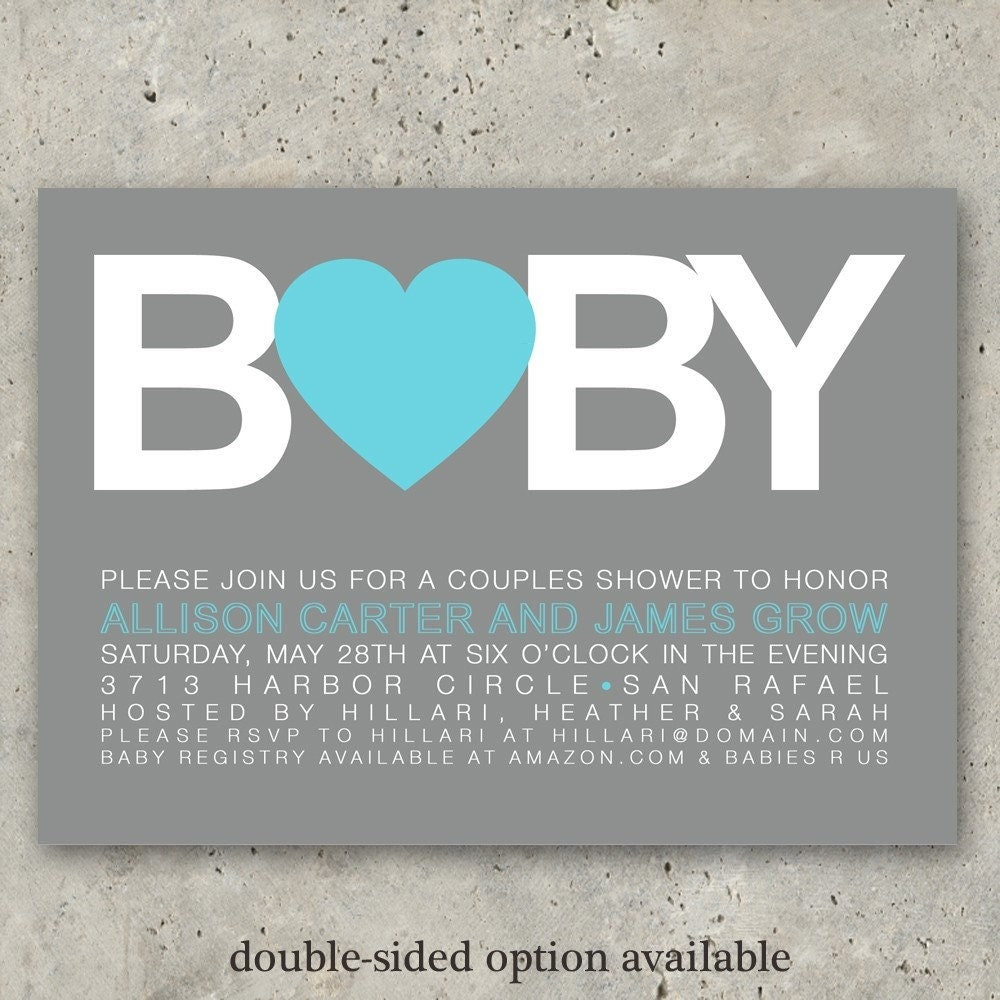 baby shower invitations boy or girl Big Baby by minkcards on Etsy