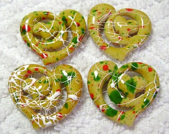 Yellow Speckled Acrylic Heart Beads (28x28mm - 4 Pcs) B-210