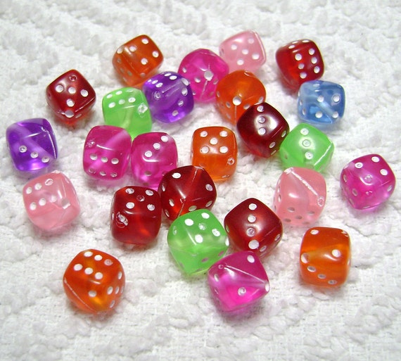 Dice Beads Acrylic Assorted Colors (8mm - 25 Pcs) B-117
