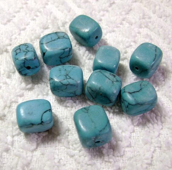 Turquoise Polished Rock Beads (10x8x8mm - 10 Pcs) B-163