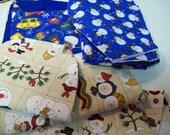 8.7 oz Snowman Cotton Fabric Remnants