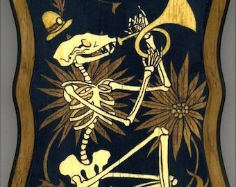 Mounted print wood art- Skeleton Music