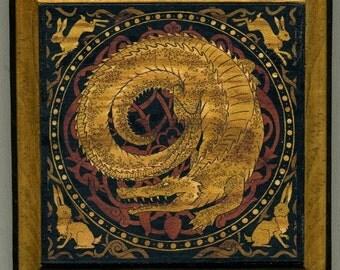 Mounted print wood art- Dragon of the Southern Isle