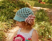 Girls Newsboy Hat with Open Weave and Peony in Seafoam and Heather Pink 2T-4T