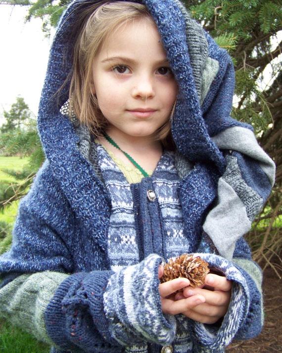 Norwegian Blue Water Recycled Sweater in Kids Size 8, 10, 12 - OOAK