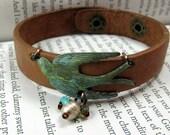 Verdigris Bird on Leather Cuff Bracelet