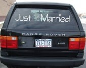 JUST MARRIED cartoon vows wedding decal - custom getaway car