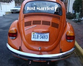 JUST MARRIED couple wedding decal - custom getaway car
