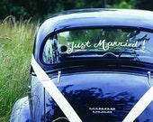 JUST MARRIED swirly wedding decal - custom getaway car
